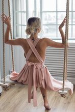 Load image into Gallery viewer, CROSS-BACK LINEN DRESS IN ROSE QUARTZ