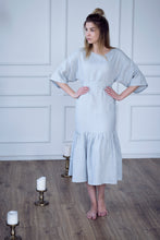 Load image into Gallery viewer, LONG LINEN DRESS WITH RUFFLES IN PEARL GREY
