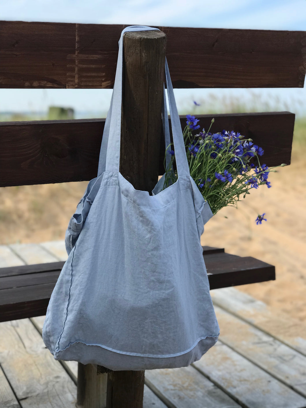 LARGE LINEN TOTE BAG IN ICE BLUE
