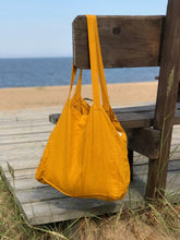 Load image into Gallery viewer, LARGE LINEN TOTE BAG IN MUSTARD