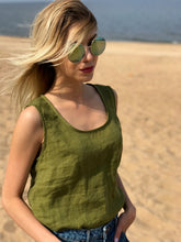 Load image into Gallery viewer, ROUND-NECK LINEN TANK TOP IN MOSS GREEN