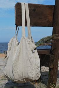 LARGE LINEN TOTE BAG IN NATURAL