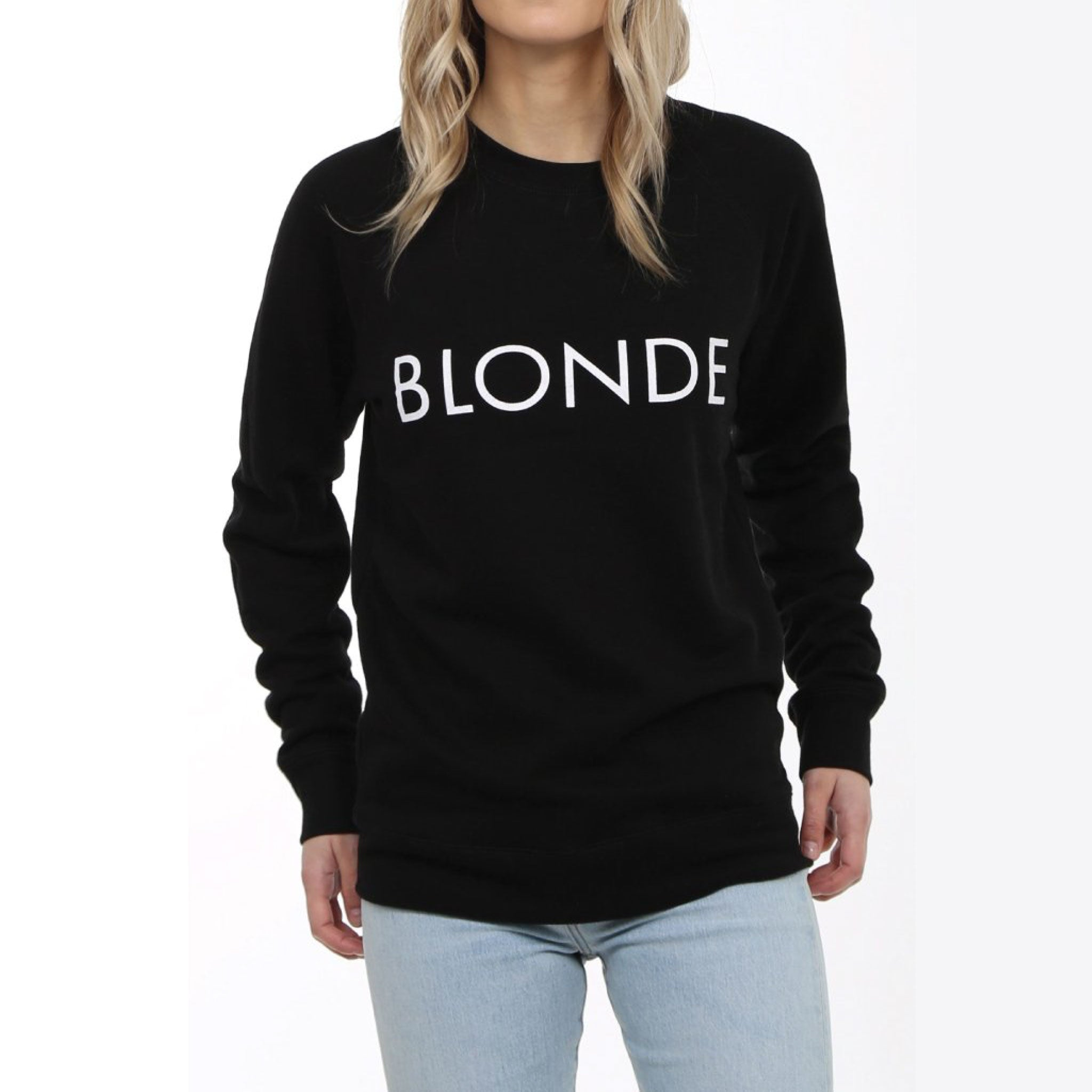 "This cozy crew neck is perfect to rock for your casual days Features a graphic ""BRUNETTE"" on the chest and elastic band cuffs and hem"