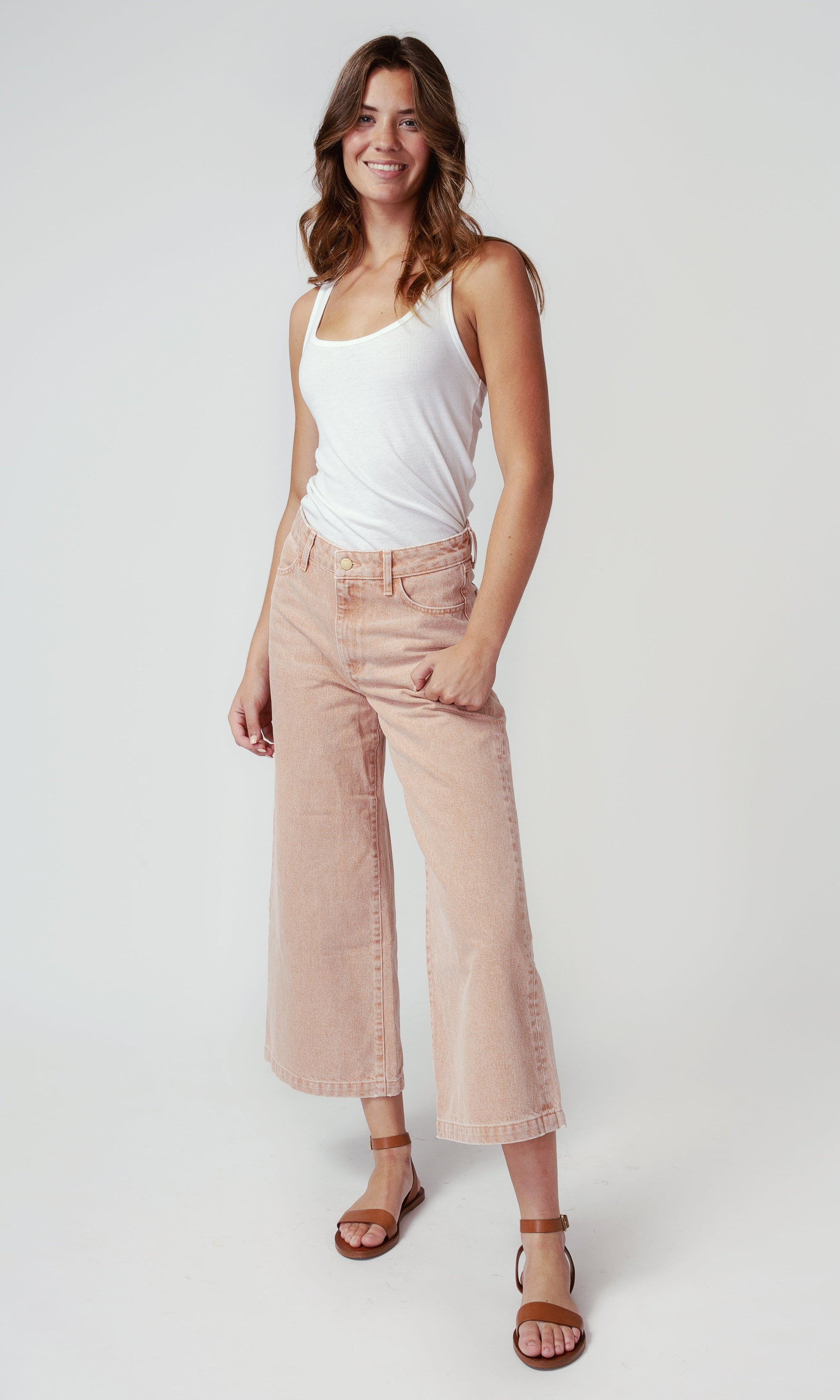 High Rise Crop Wide Leg