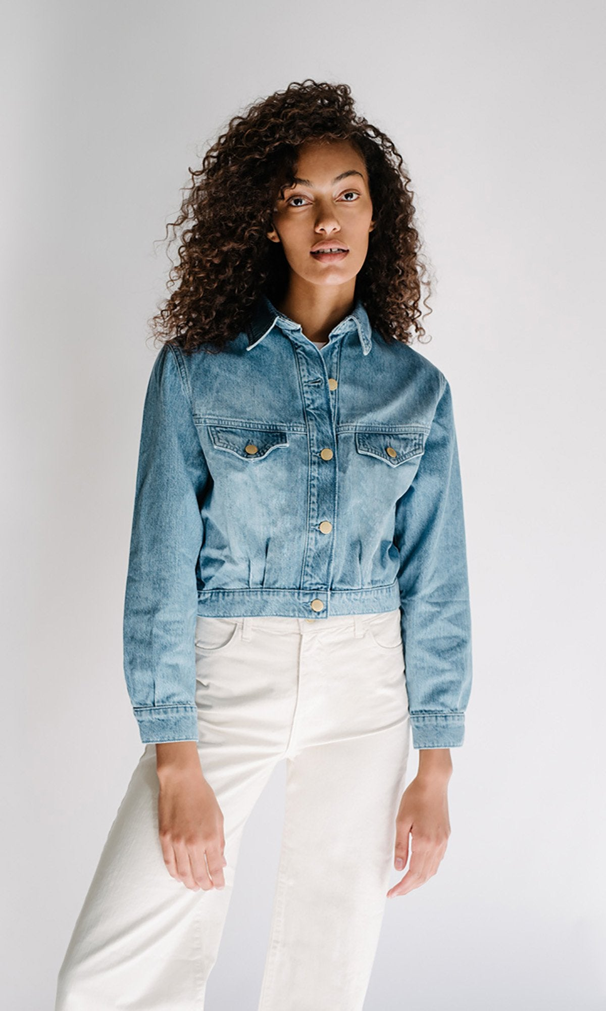 Cropped Tapered Denim Jacket