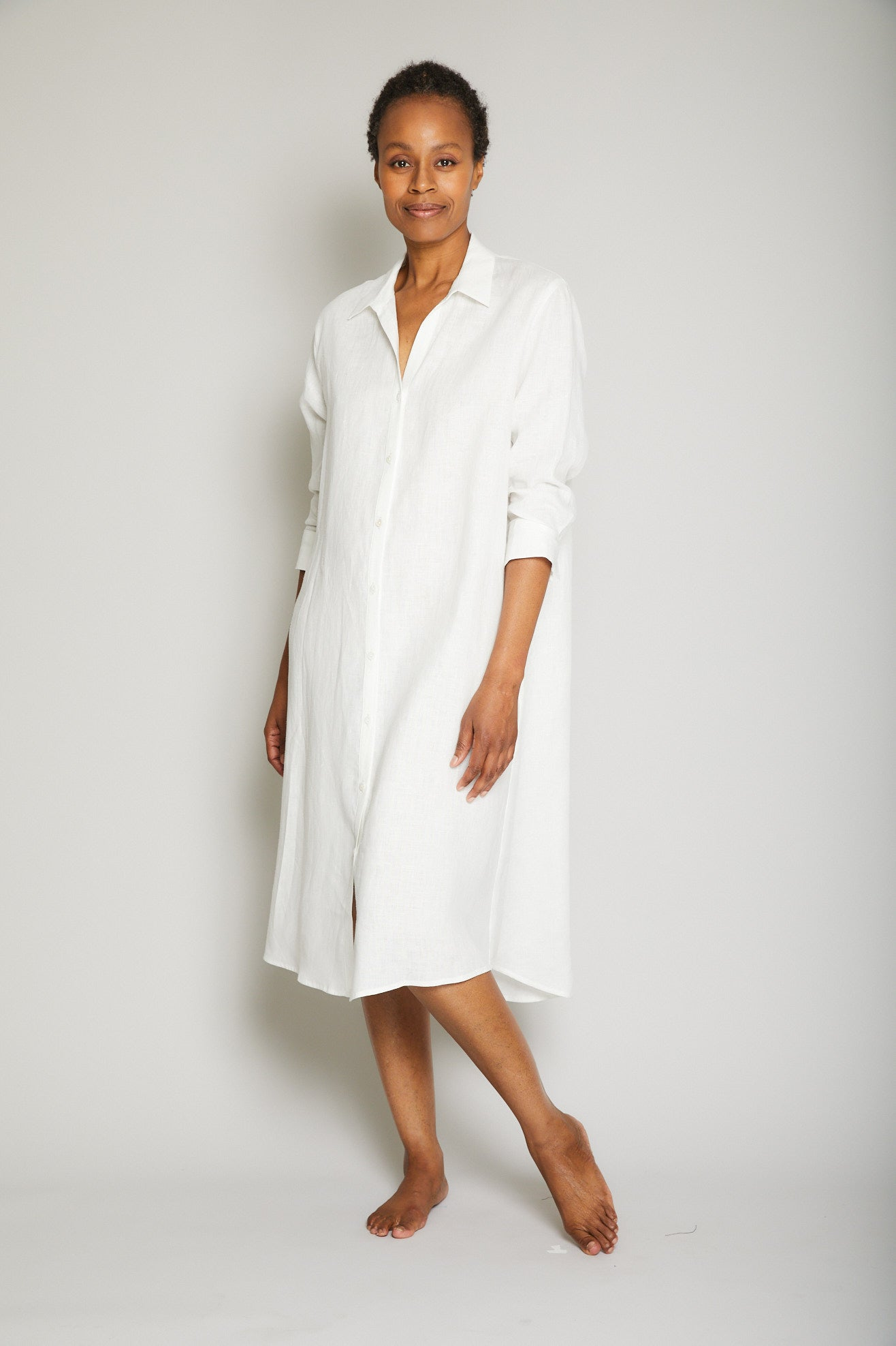 Linen Button Down Shirt Dress