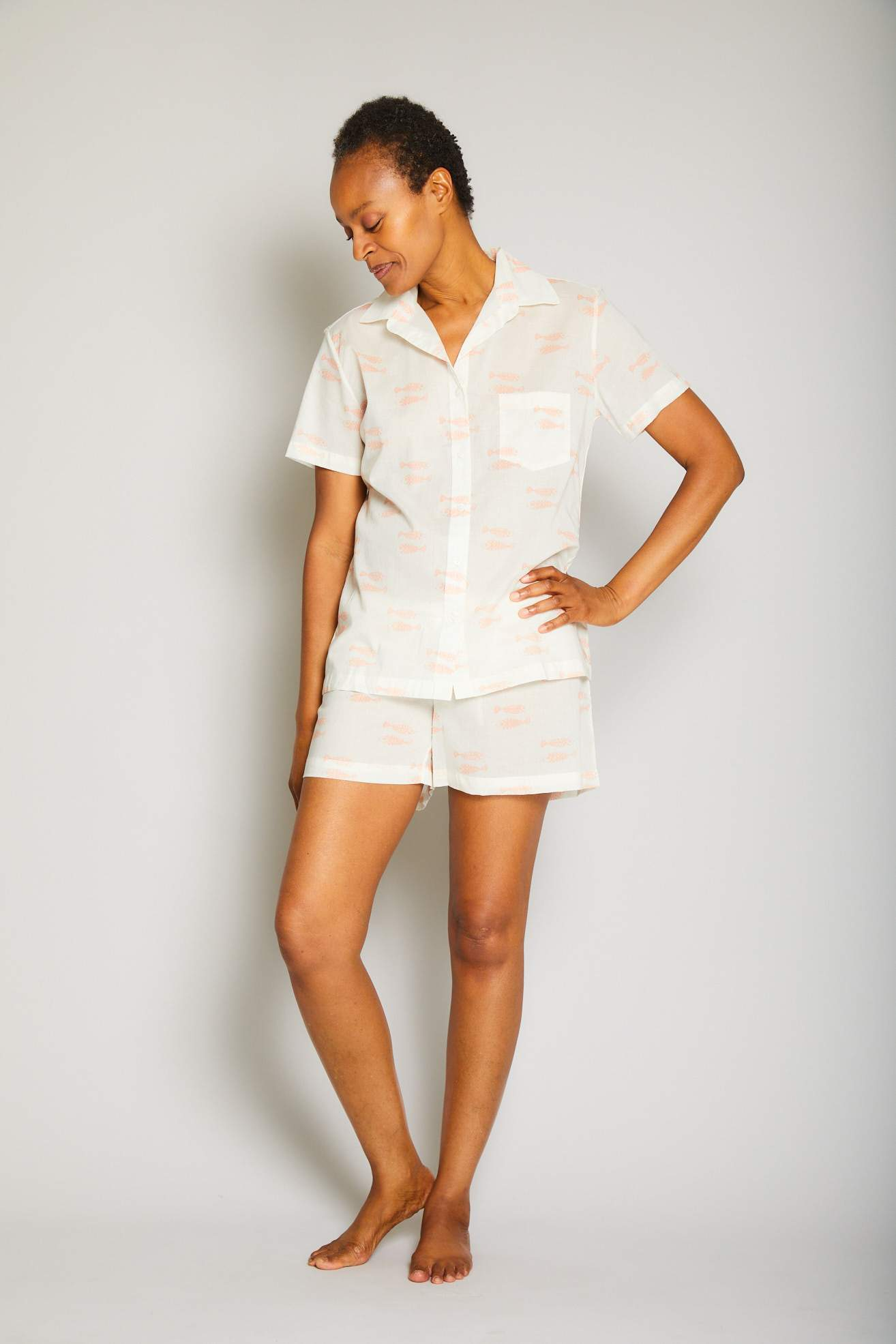 Fish Short Sleeve Short Pajama Set
