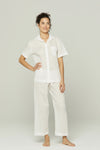 Short Sleeve CottonCropped Pajama Set with Lace Detail