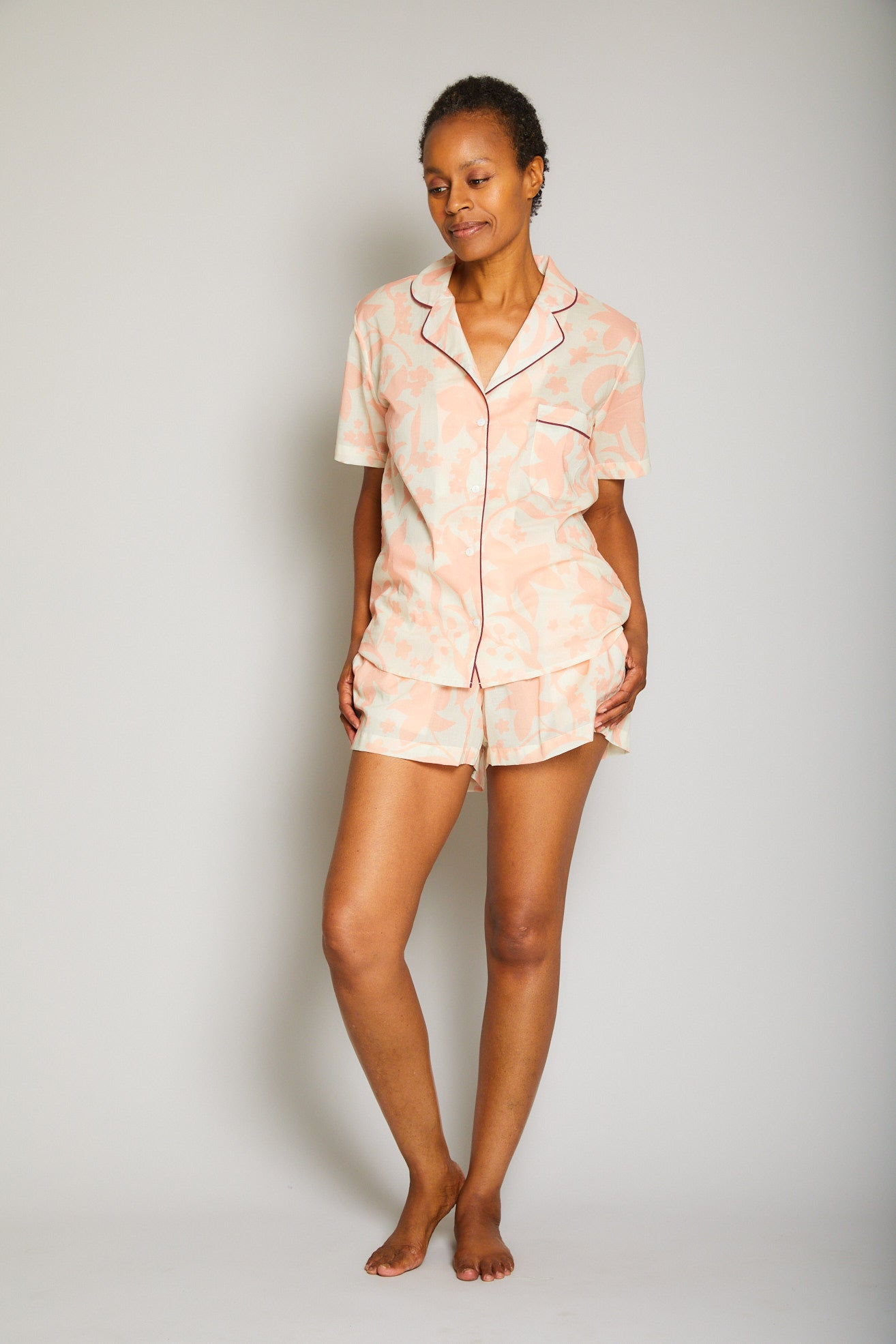Hawaiian Short Sleeve Short Pajama Set w/ Piping