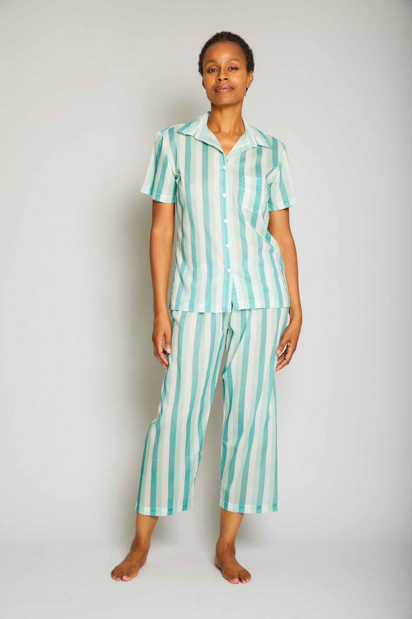 Striped Short Sleeve Crop Pant Pajama Set