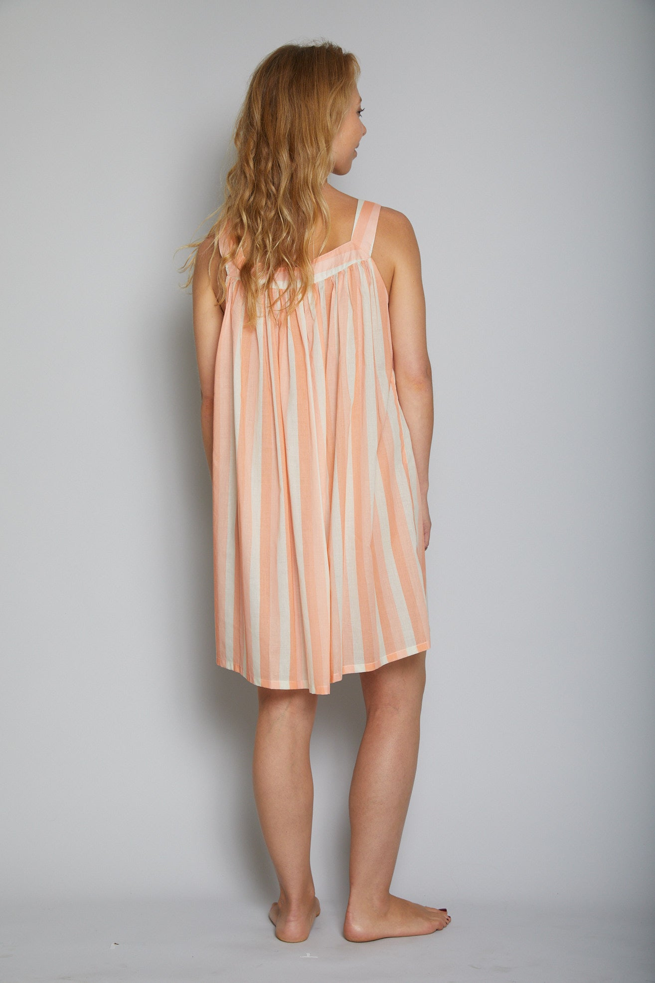 Striped Short Square Neck Nightie