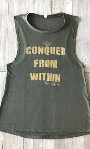 Conquer From Within Flowy Muscle Tank With Rhinestones