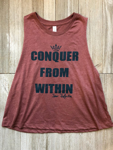 Conquer From Within Racerback Cropped Tank