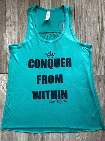 Kids Conquer From Within Flowy Racerback Tank With Rhinestones