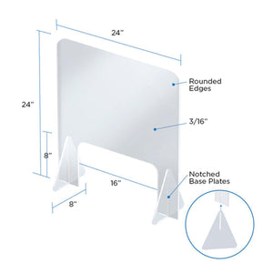 24 x 24H Freestanding Sneeze Guard with Cutout