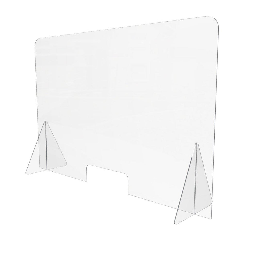48 x 32H Freestanding Sneeze Guard with Cutout