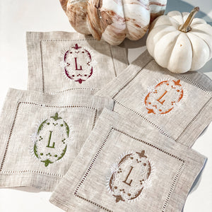 Beige Linen Cocktail Napkins