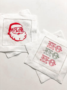 Ho Ho Ho Linen Cocktail Napkin Set