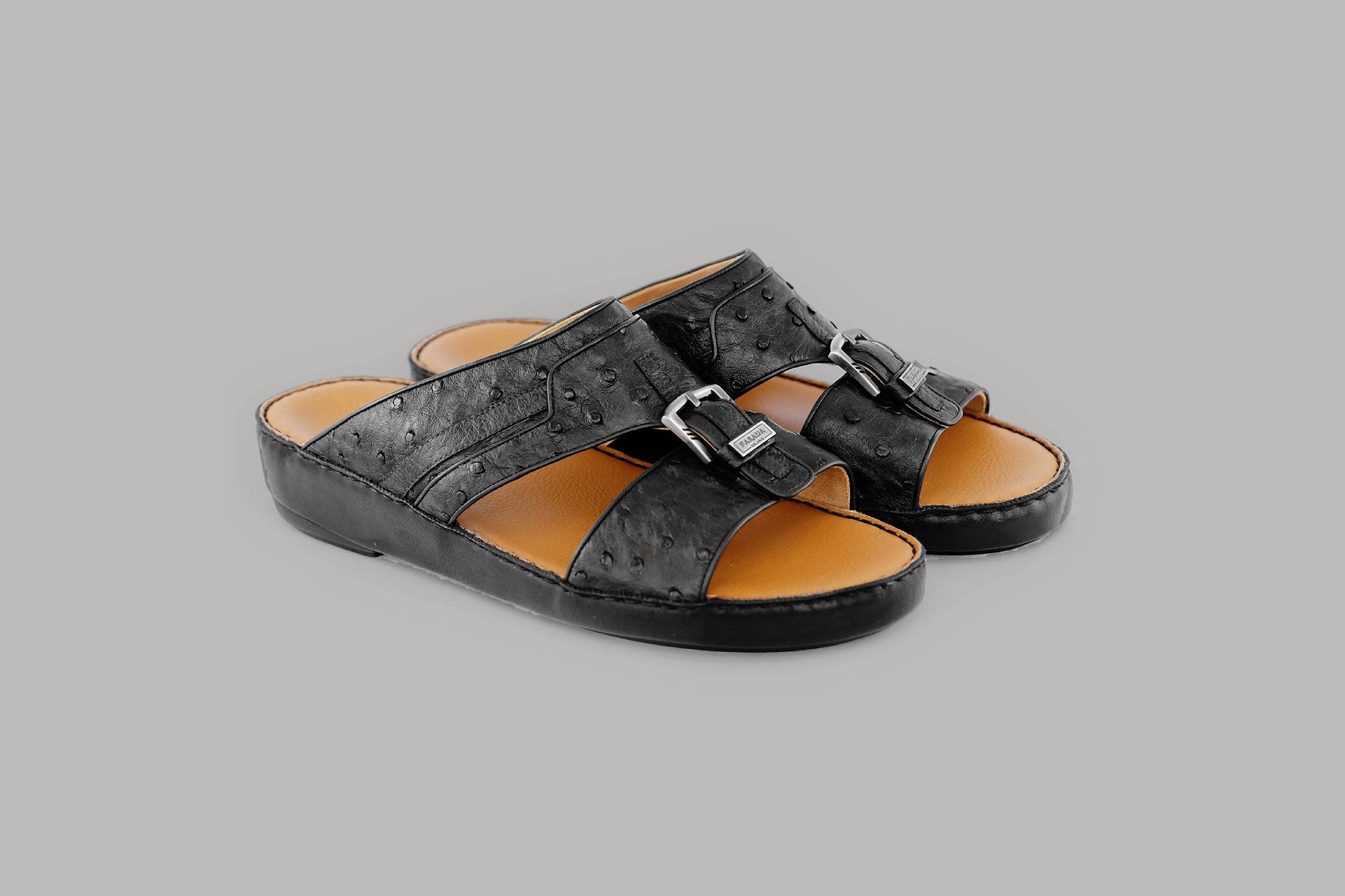 Carpino Struzzo Black Arabic Sandals (3988OST)