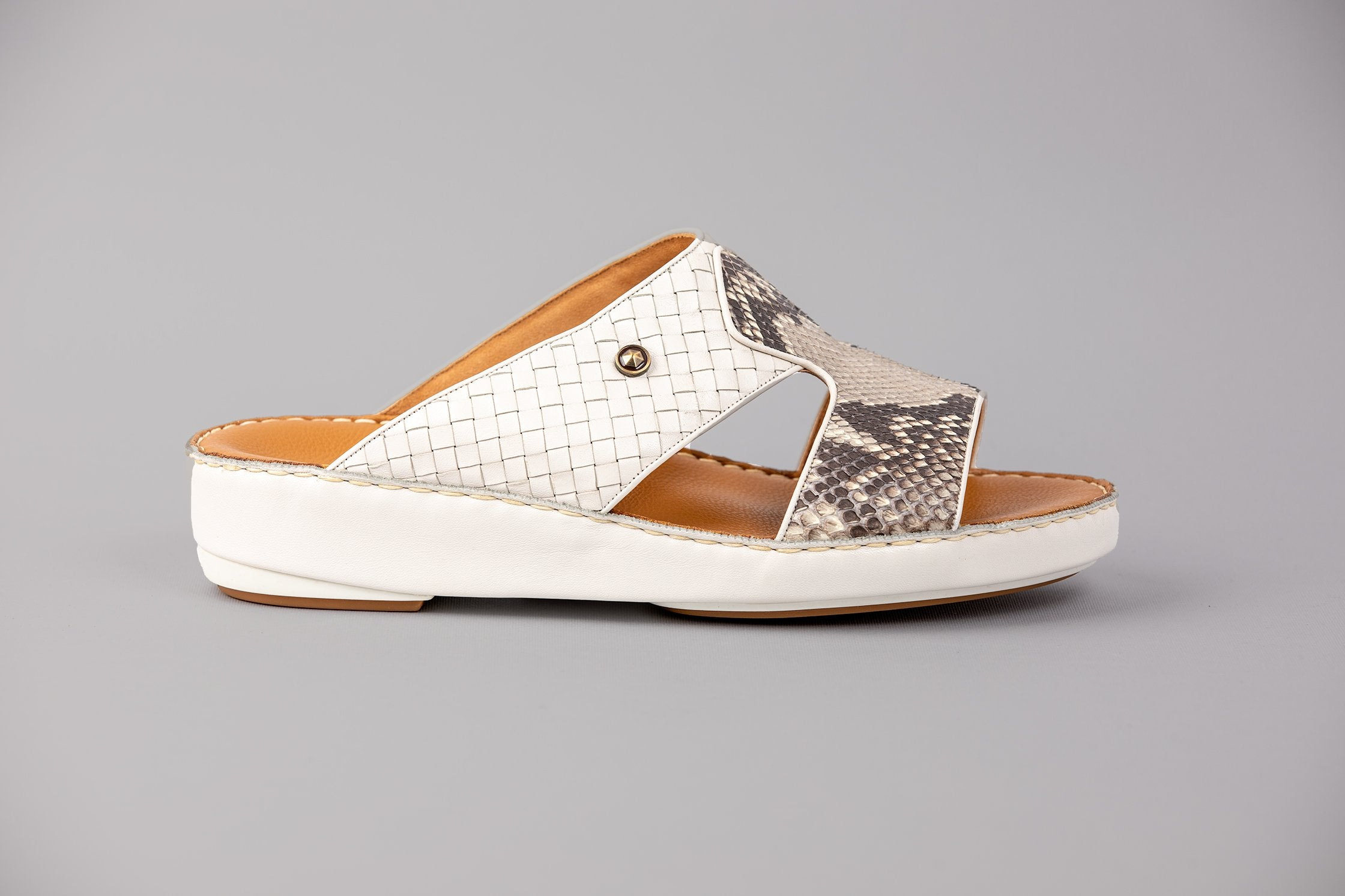 Buccini Pitone Off White Arabic Sandals (177PYWE)