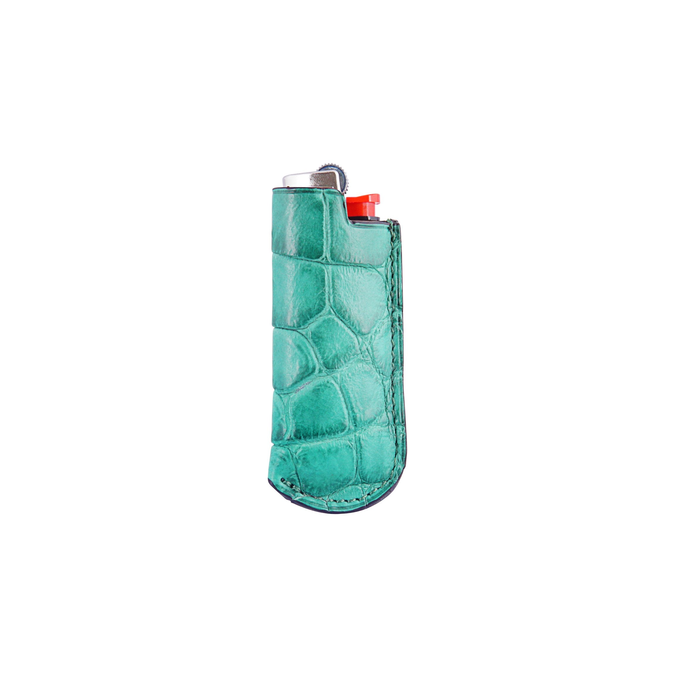 Lighter Case - Green Crocodile Leather