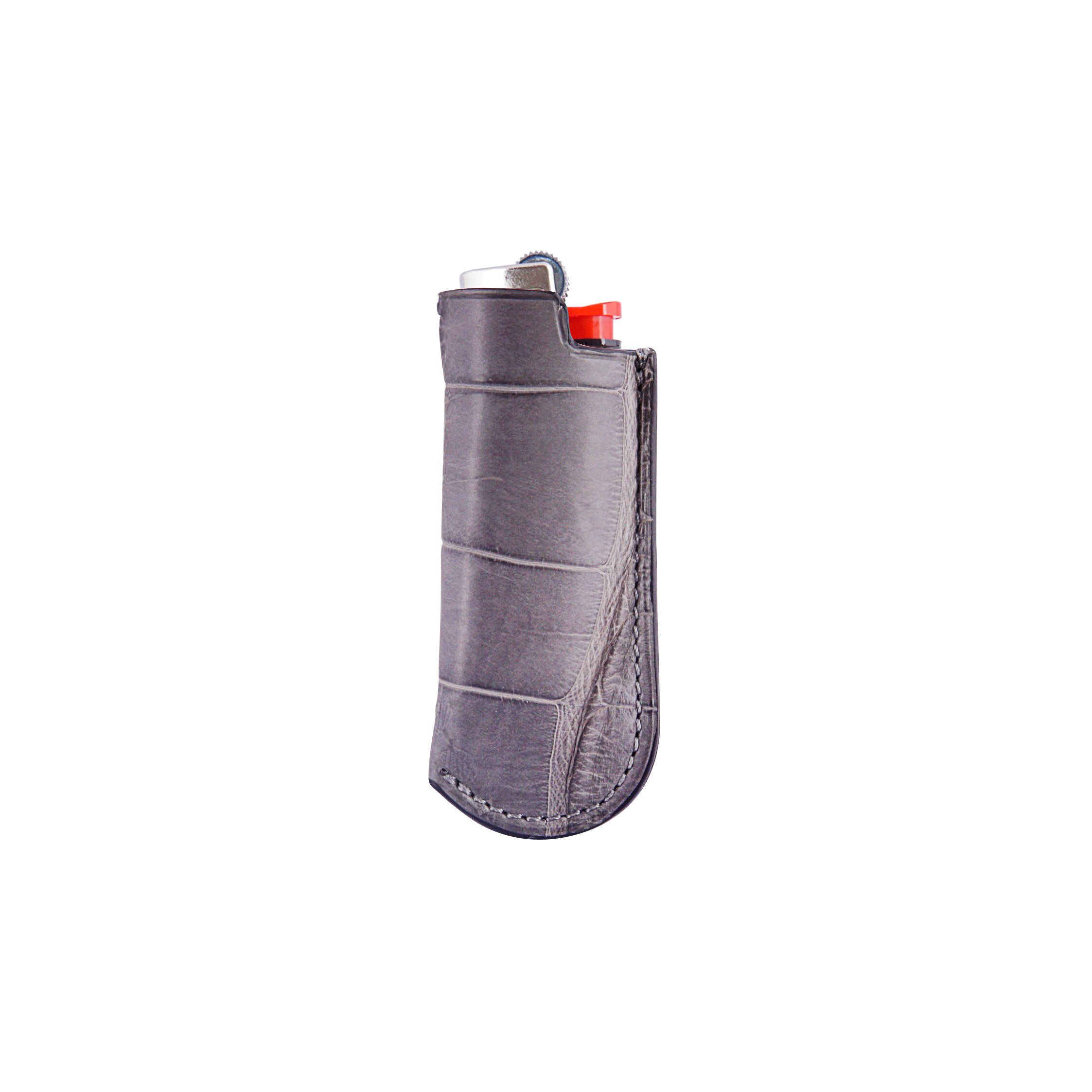 Lighter Case - Gray Crocodile Leather
