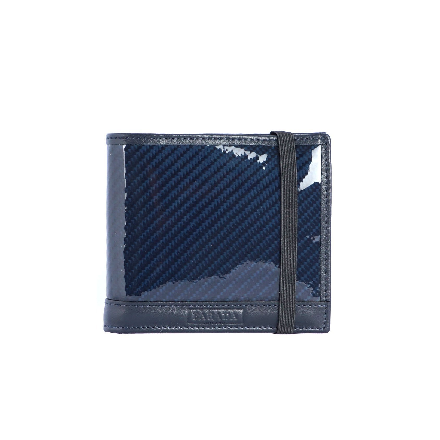 Navy Carbon Fibre with Strap Bifold Wallet