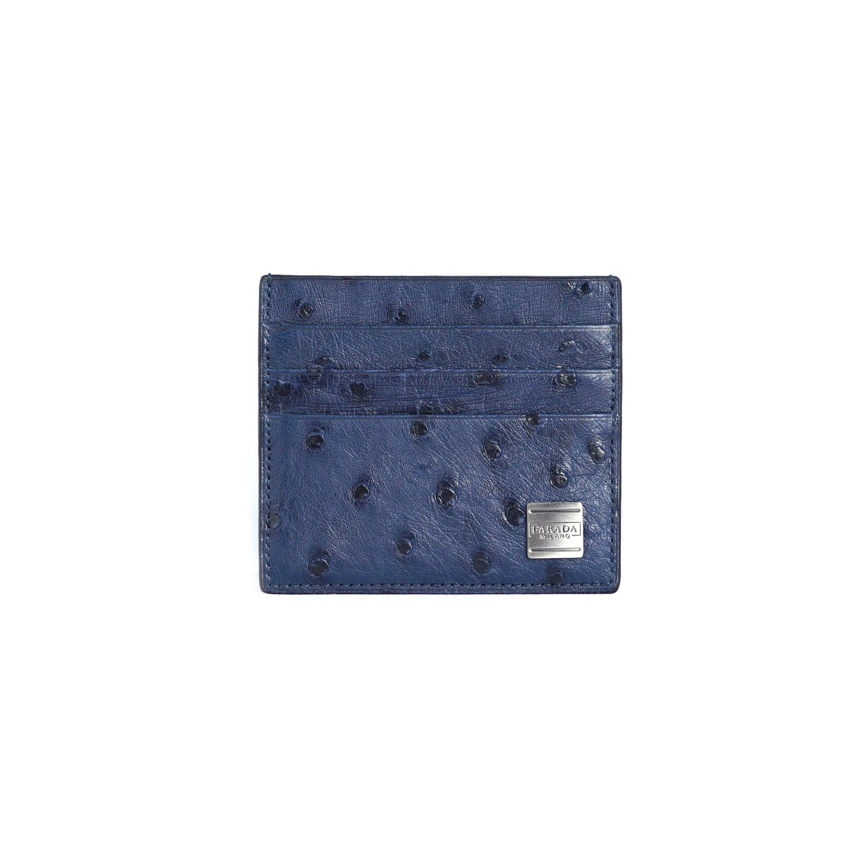 Navy Ostrich Card Holder