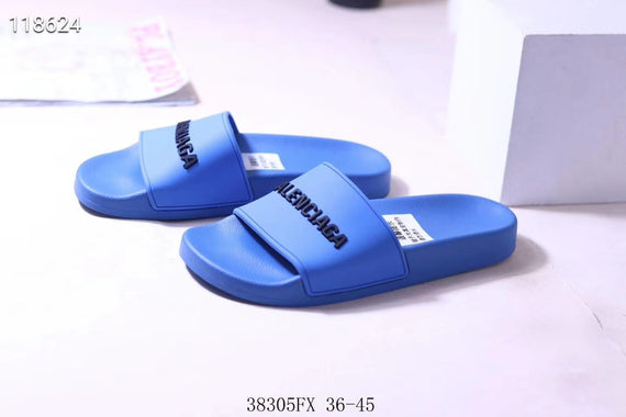 BALENCIAGA PARIS FAMILY LOGO POOL SLIDES