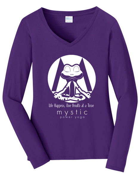 Mystic Power Yoga - Port & Company® Ladies Long Sleeve Fan Favorite™ V-Neck Tee