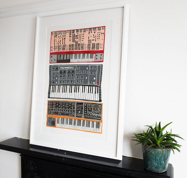 Synthesizers Linocut PRINT (framed)