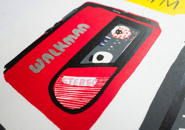 Walkman Linocut PRINT (framed)