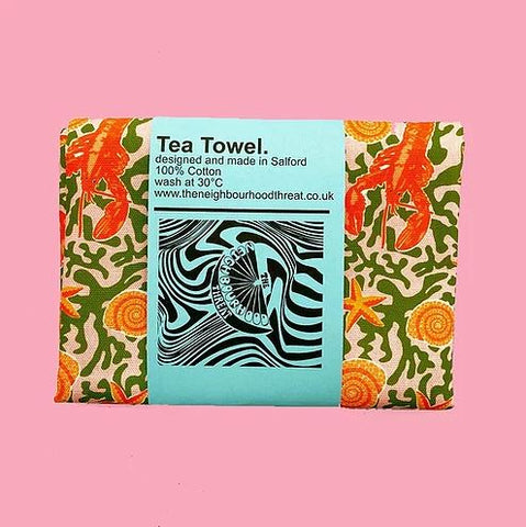 Lobster Print Tea Towel