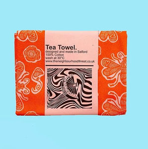 Orange Bee Tea Towel