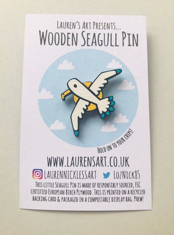 Wooden Seagull Pin