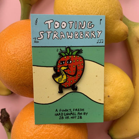 Tooting Strawberry Saxophone Pin