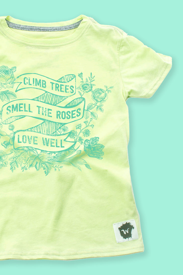 SALE: These boys or girls t shirts feature the perfect spring to do list: climb trees, smell the roses, love well. Discover more at wildlyco.com