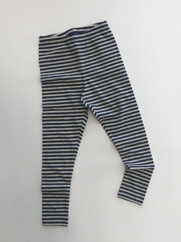 Navy & Cream Striped Leggings