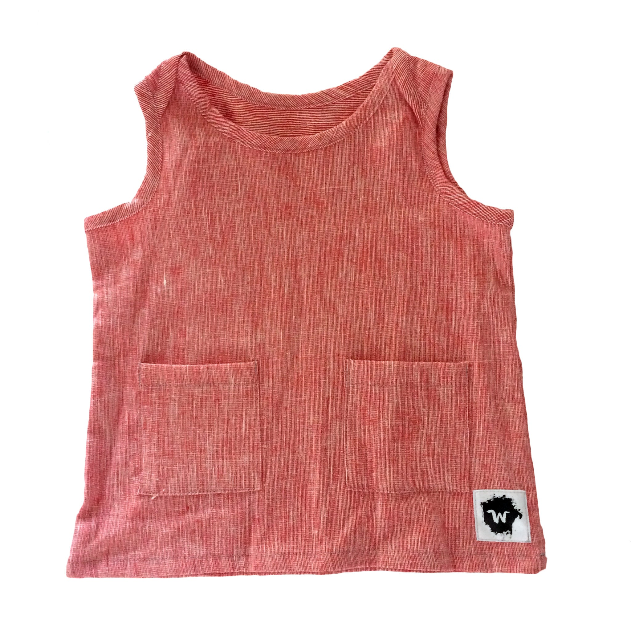 Red Hatch Woven Tank Top
