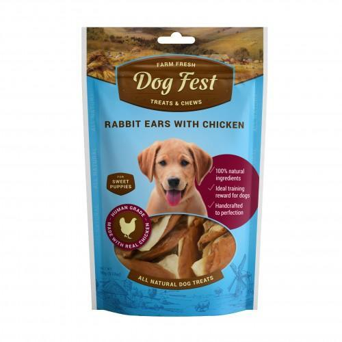 Dog Fest - Rabbit ears with chicken for puppies (90g)