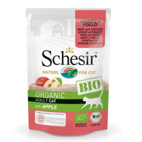 SCHESIR CAT POUCH BIO- BEEF AND CHICKEN WITH APPLE 85GM