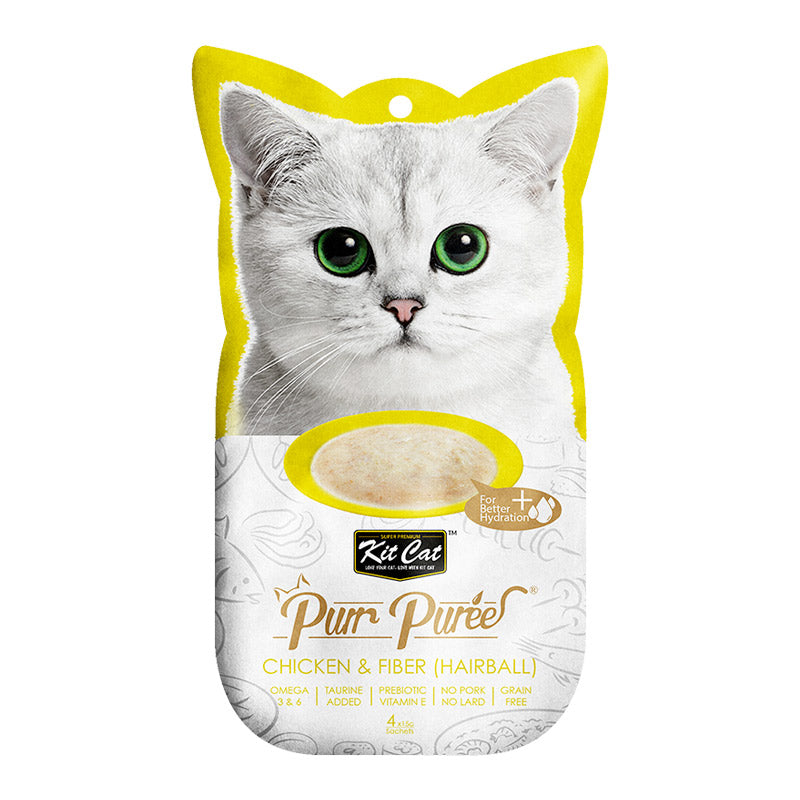 Kit Cat - Purr Puree Chicken & Fiber (Hairball)