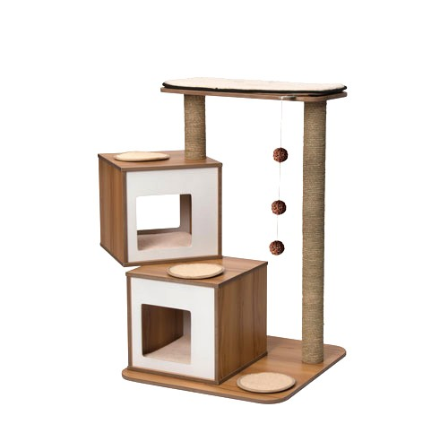 Vesper - Premium Cat Furniture V-Double - Walnut