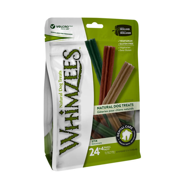 Whimzees - Stix Small Mix Brown / Green / Orange (24+4 pcs)