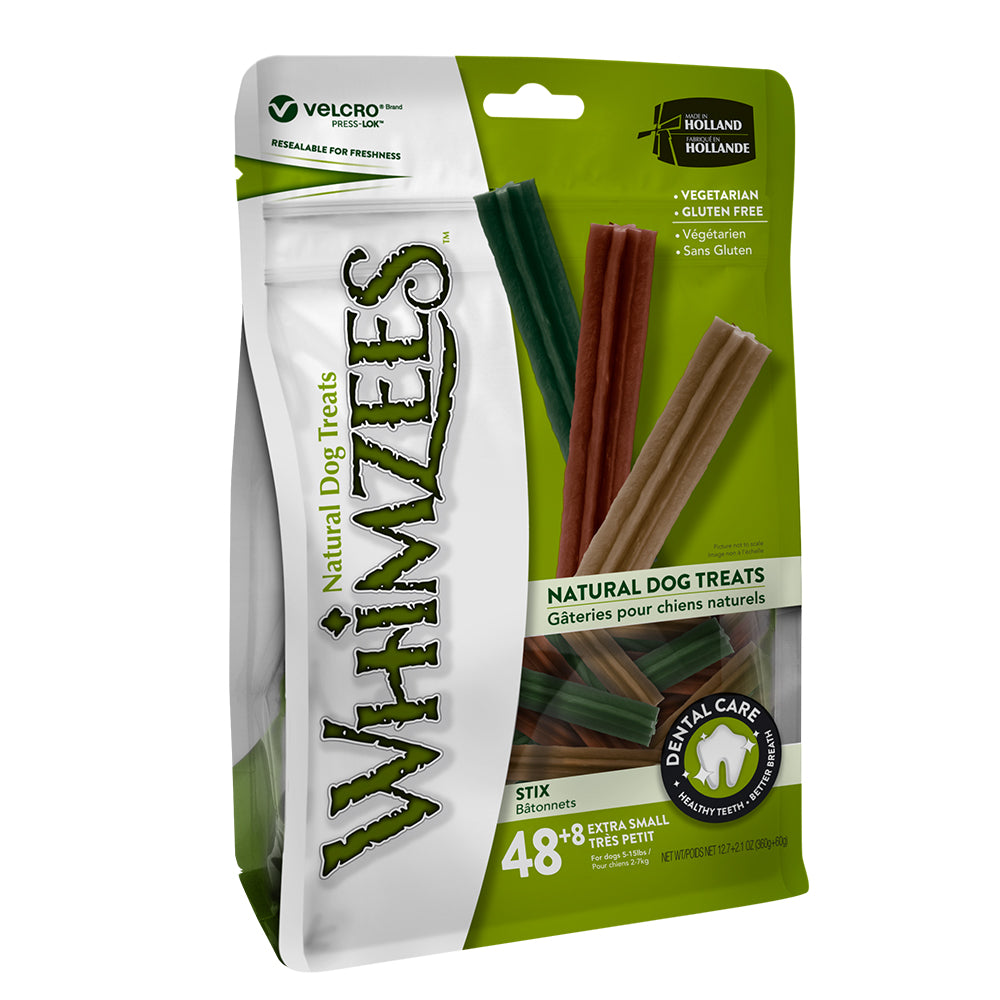 Whimzees - Stix Xtra Small Mix Brown / Green / Orange (48+8 pcs)