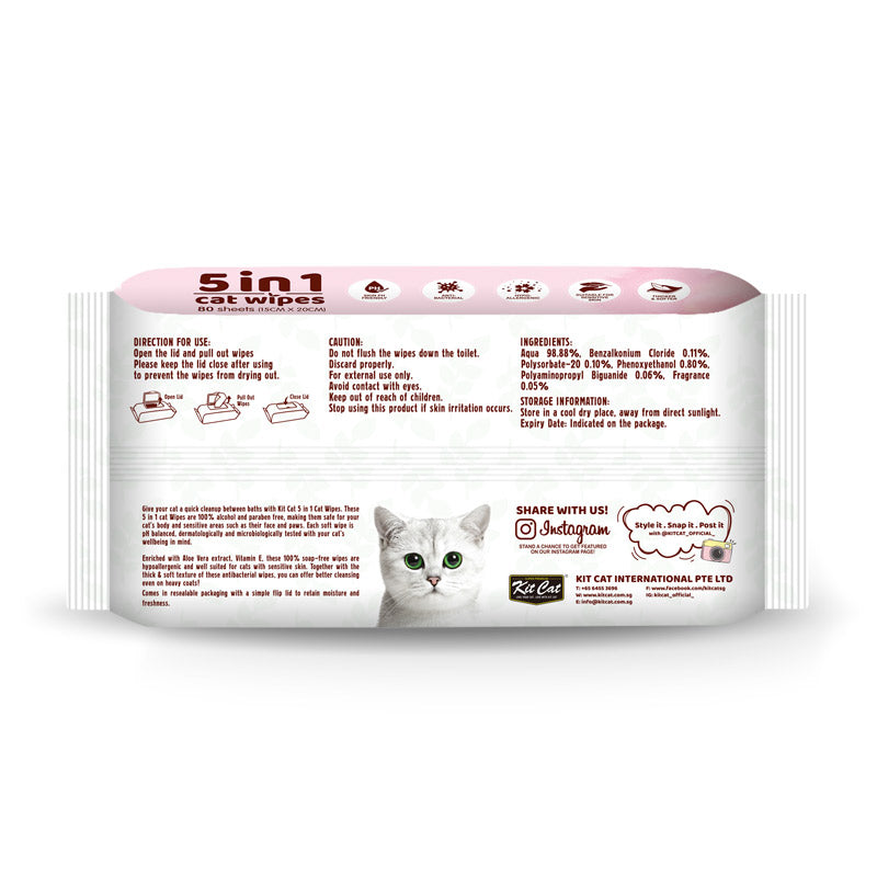 Kit Cat 5-in-1 Cat Wipes CHERRY BLOSSOM Scented