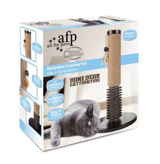 All For Paws - Mochachino Scratching Post With Rubber Bristles
