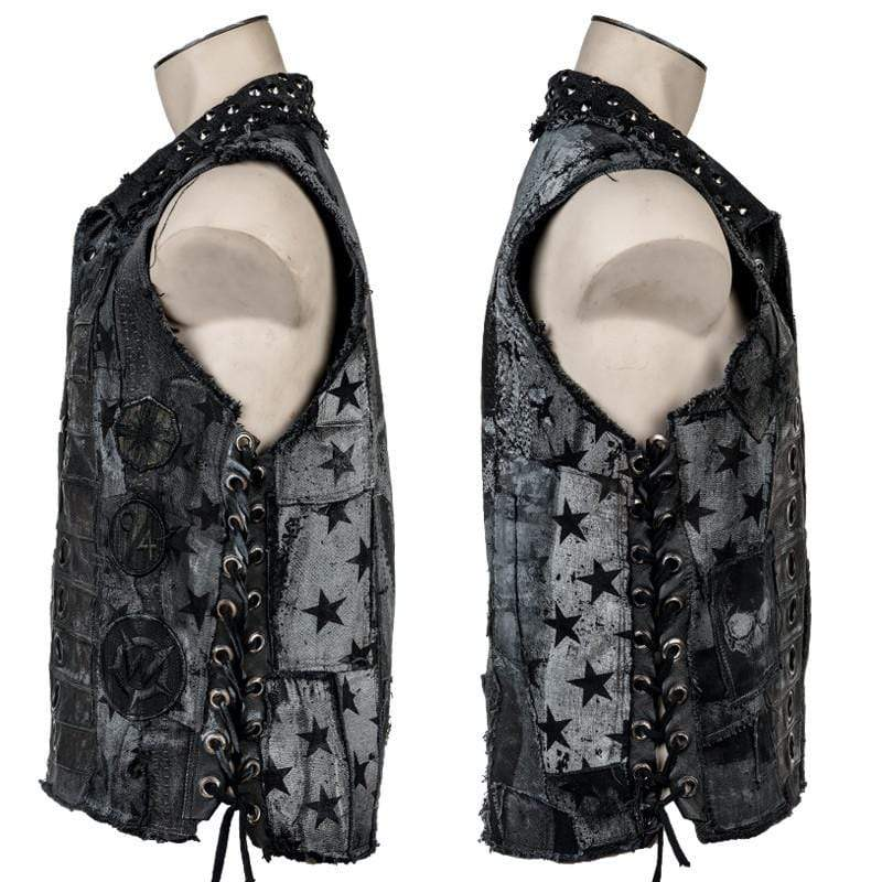 Wornstar Clothing Adamant Salvaged custom vest. Layered denim and leather with custom printing.