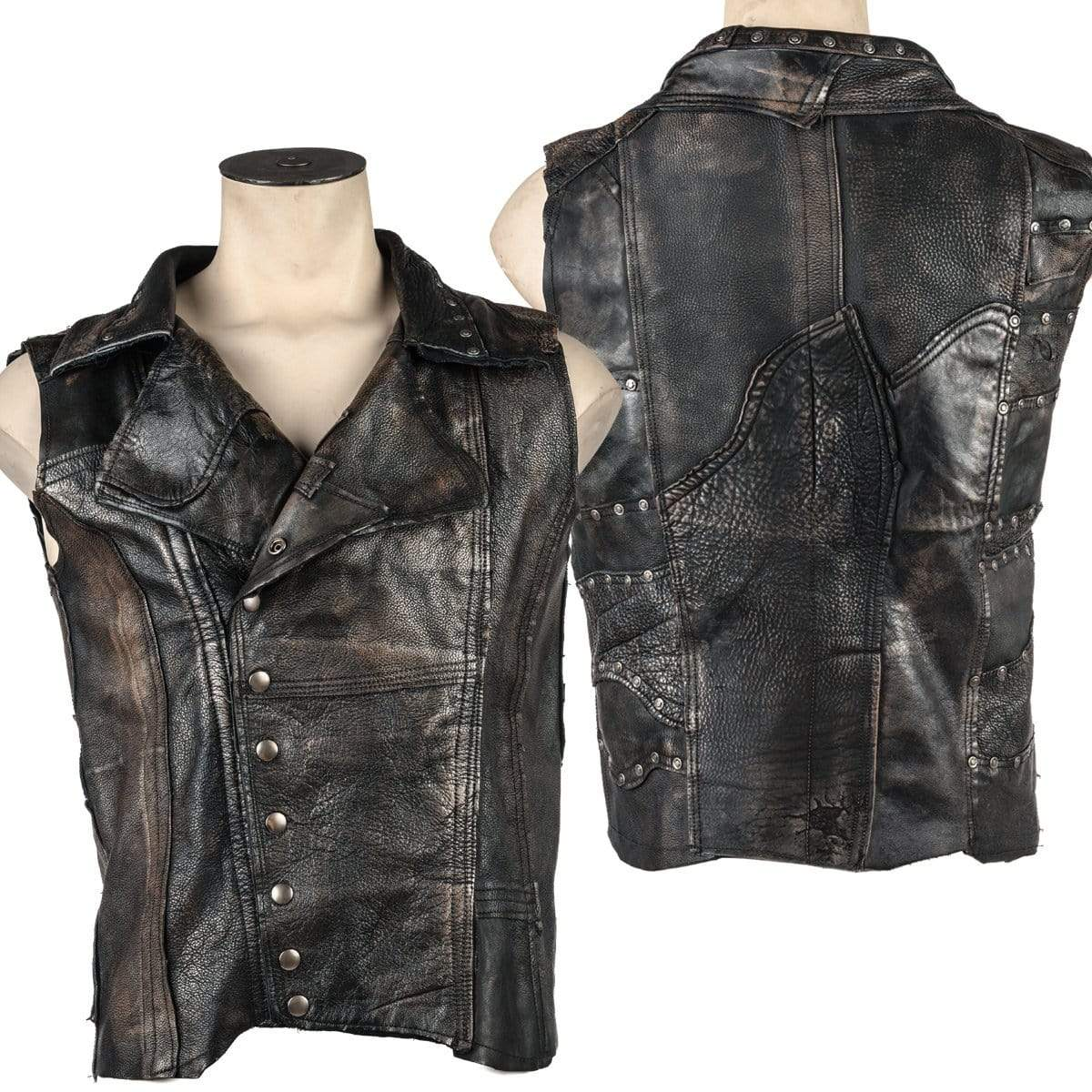 Wornstar Clothing Defender leather custom vest. Patchwork leather with hand set hardware and wash.