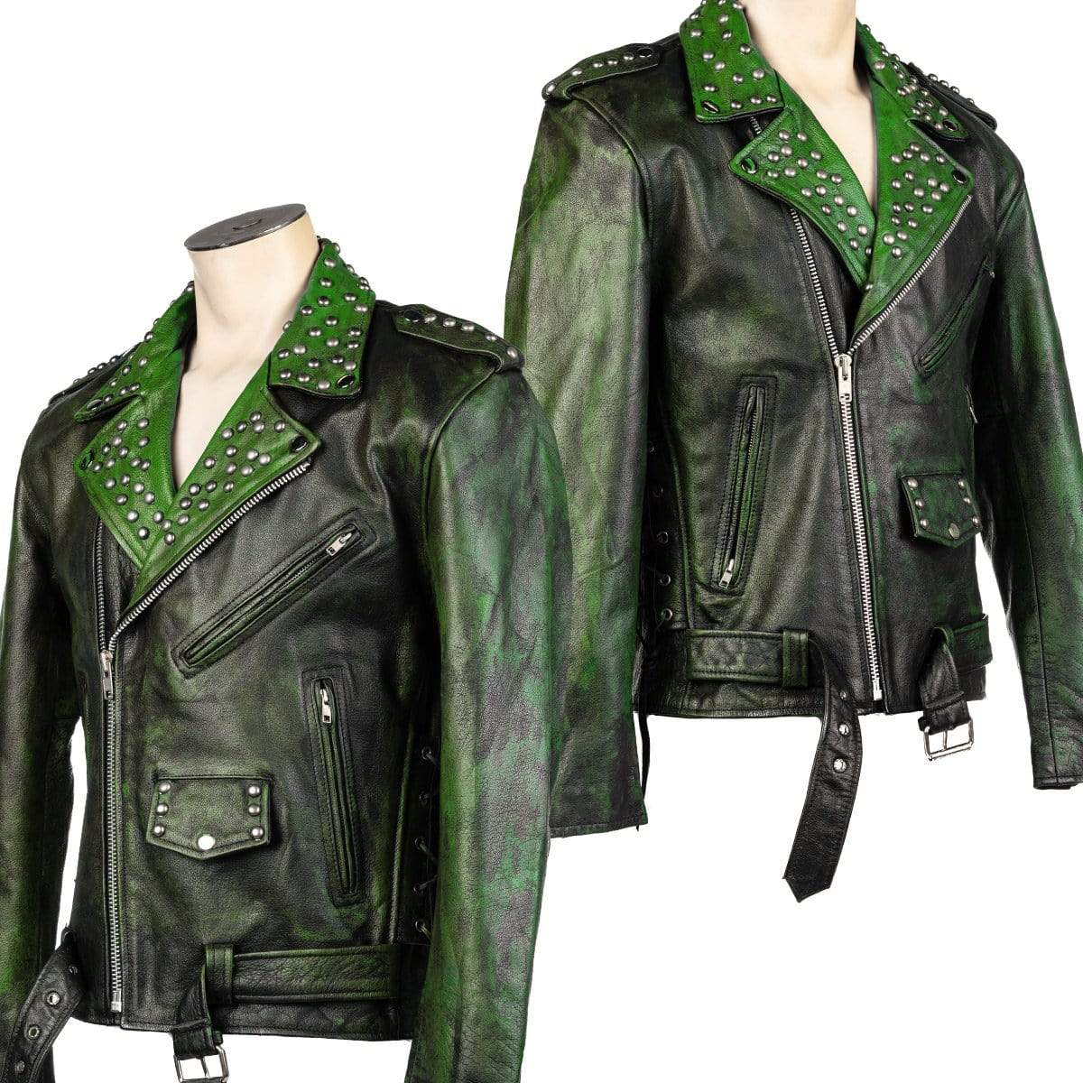 Wornstar Clothing Fueled Green custom jacket. Leather with custom printing and hand set studding.